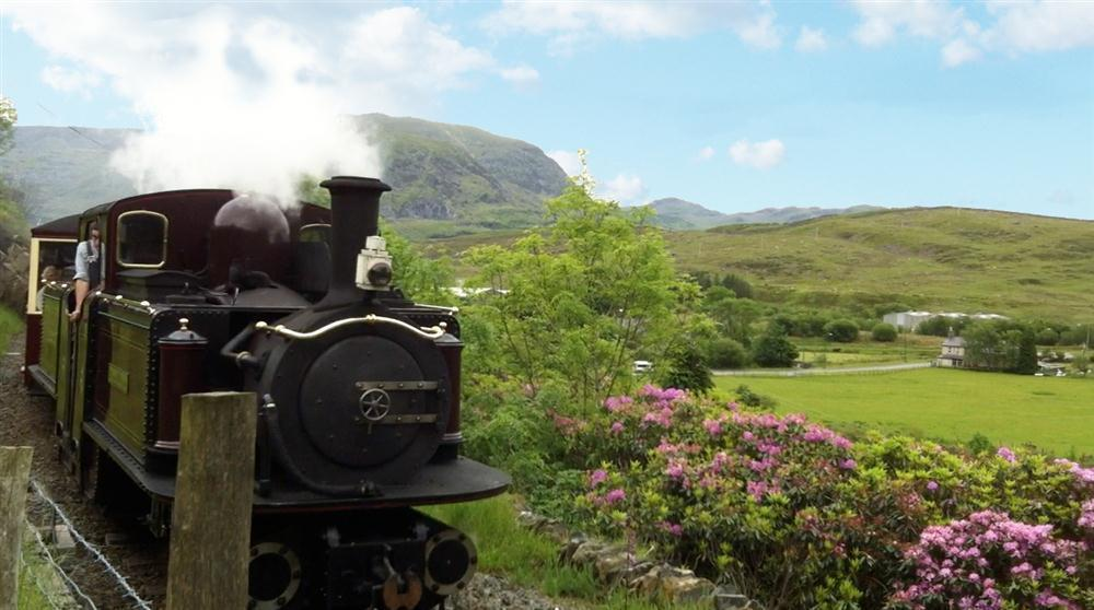 Photo of the Ffestiniog Steam Train passing above Explorer's Cottage.