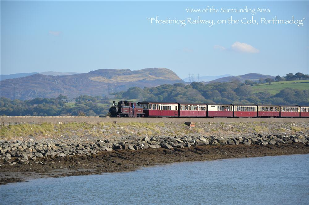 The Ffestiniog Railway on the cob, can be seen from the apartment