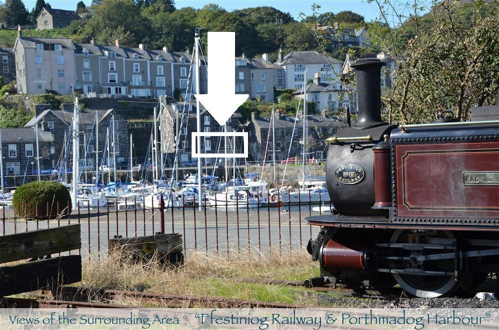 The view of the apartment from Porthmadog Steam Railway Station