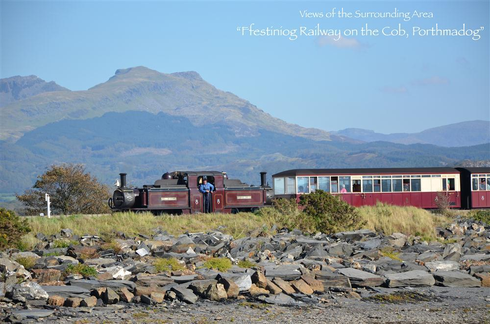 Views to the Ffestiniog Railway on the cob