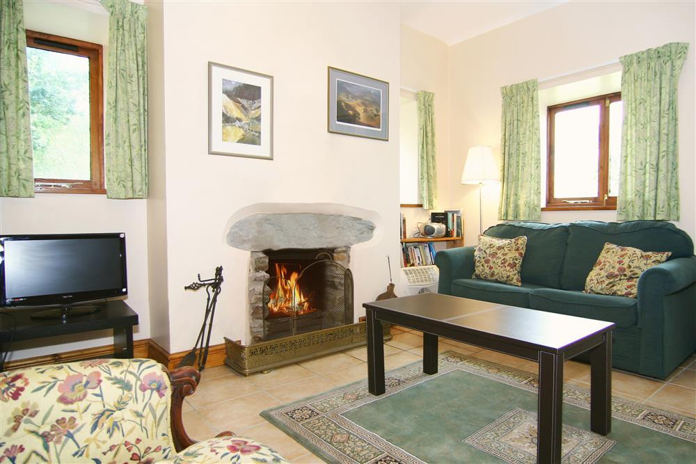 Lougne area with open fireplace