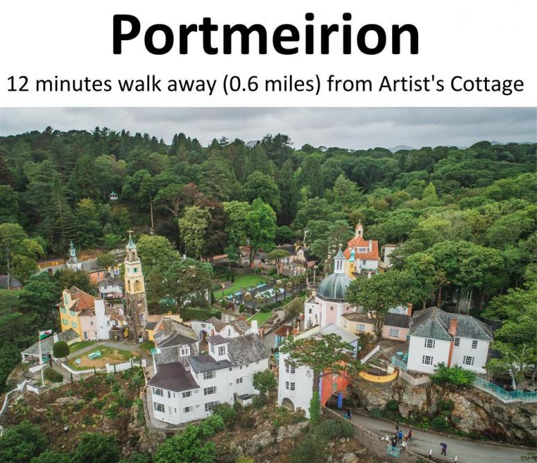 Portmeirion village is a short stroll down the road!