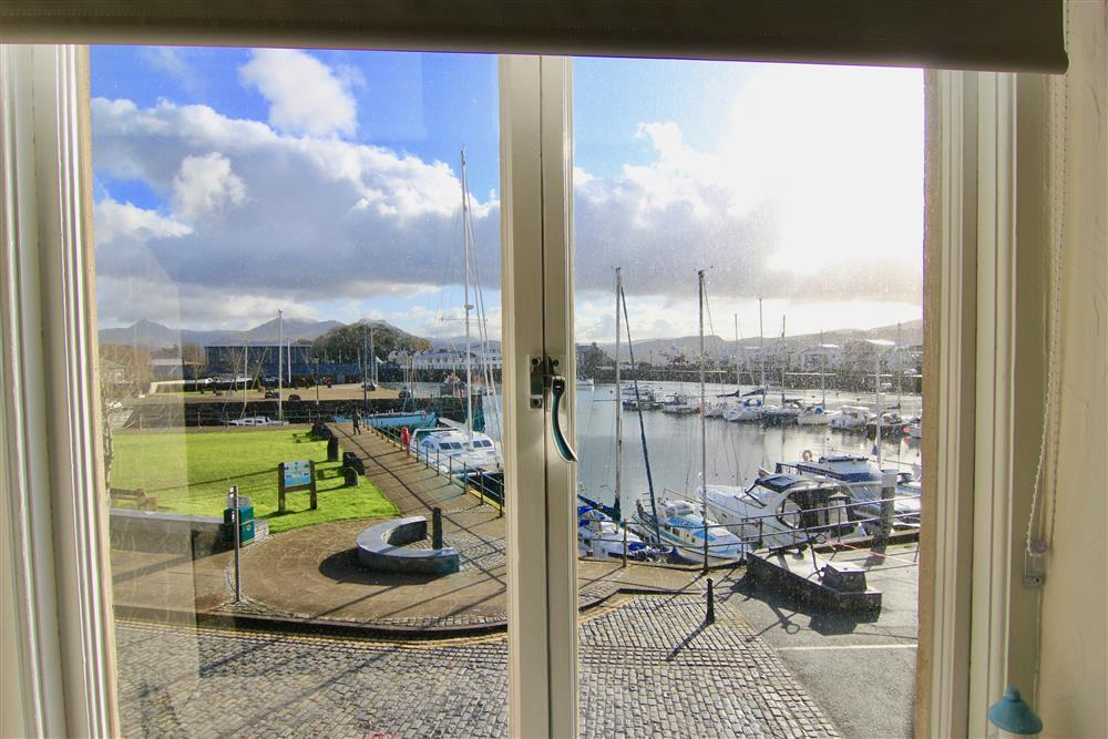View from the lounge area looking at Porthmadog harbour.