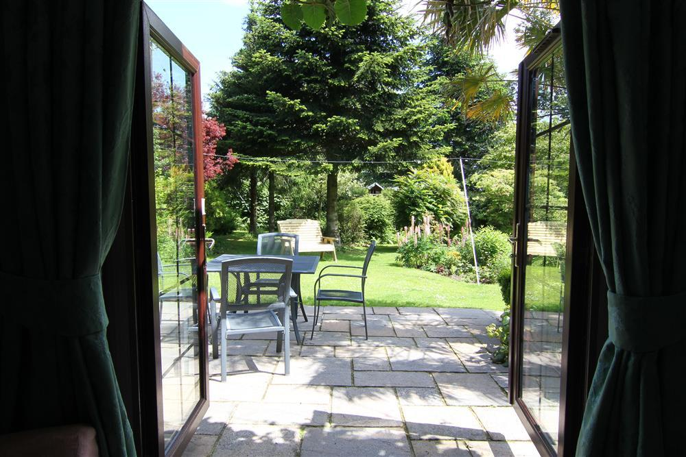 View of the garden from the lounge patio doors.