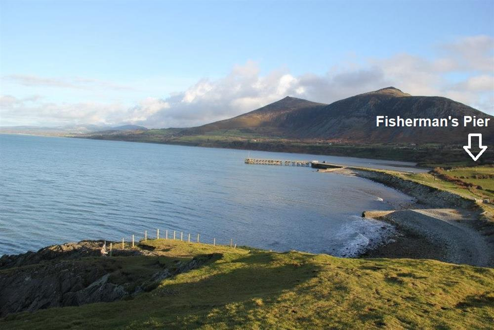 View towards Fisherman's Pier holiday home, Trefor Beach.