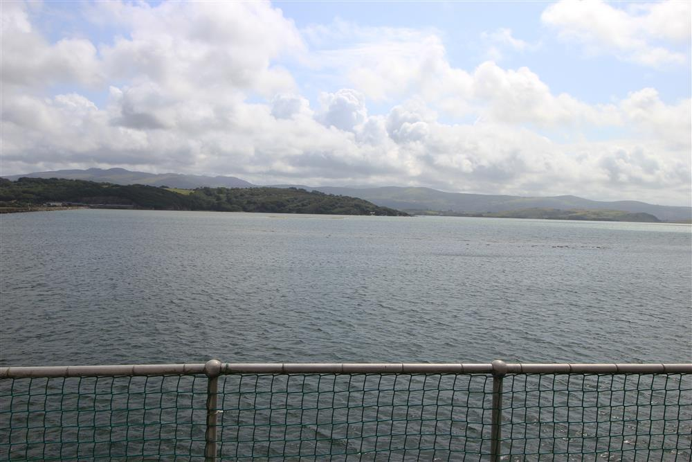The view from the balcony of Dwyryd estuary and the mountains beyond