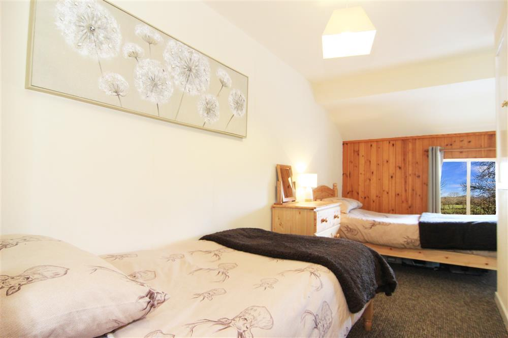 Twin bedroom with view of countryside with the hills 'Clogwyn Melyn' and 'Mynydd y Cilgwyn' in the distance.