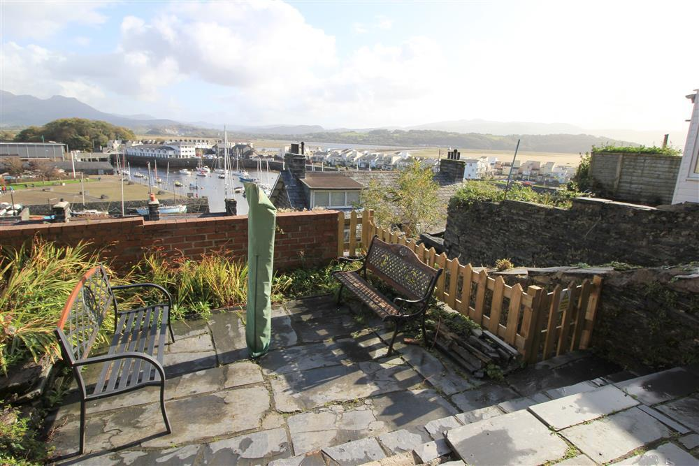 Patio Area with views of Porthmadog Harbour and Snowdonia mountains in the distance