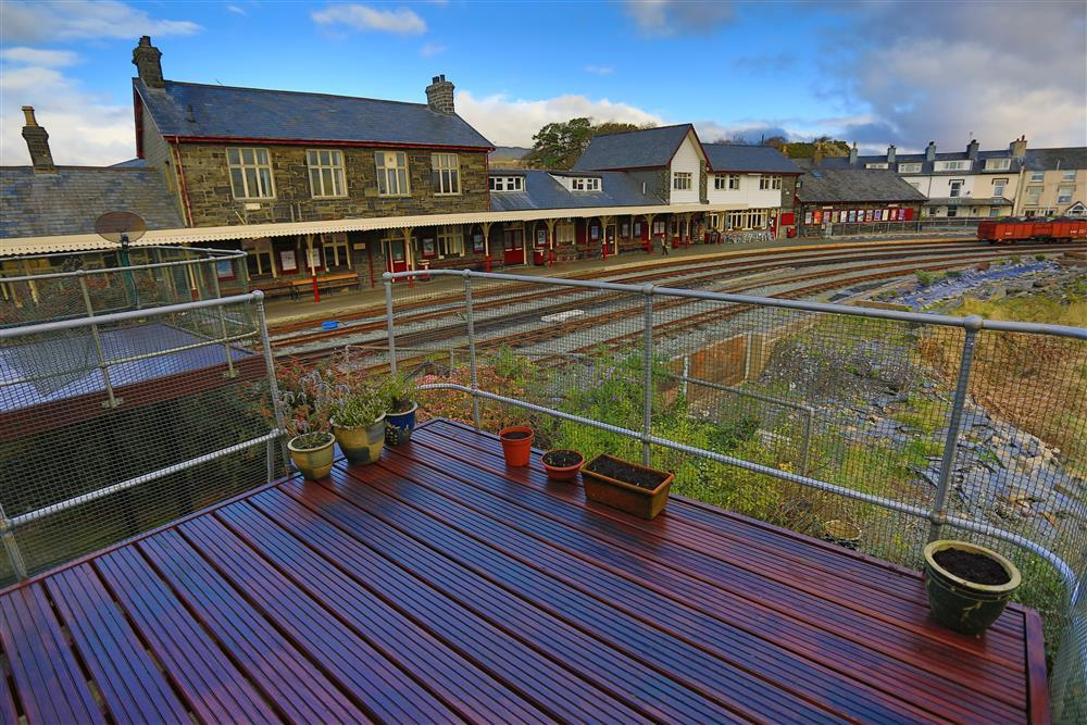 Balcony overlooks the stunning and unique Welsh Highland Railway station