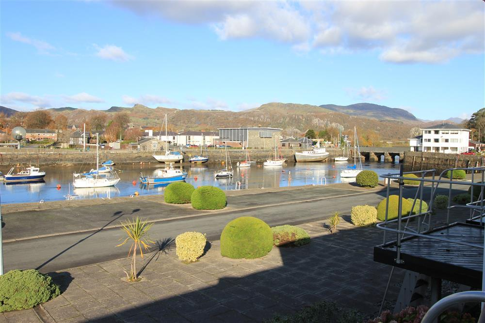 View from the balcony of Porthamdog Harbour. The bridge on the right handside of this photo is where the Steam Train goes on to get to Porthmadog Station.