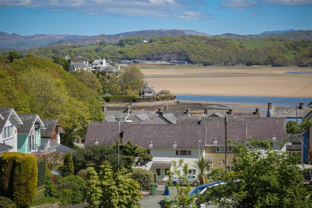 Views down to Borth y Gest bay and the mountains of Snowdonia