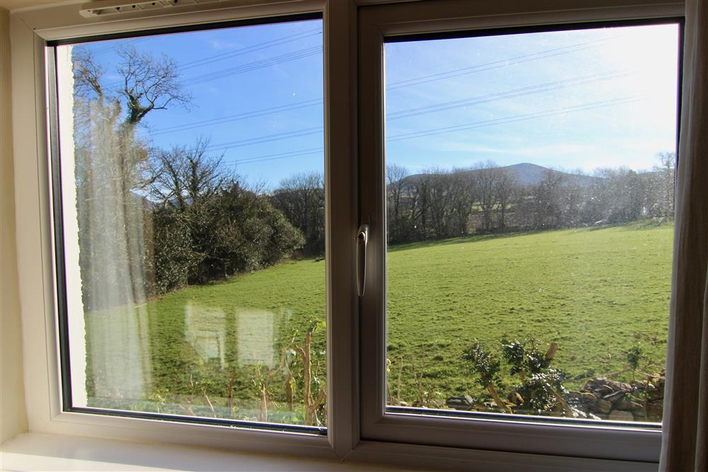 The view from the bedroom, beyond the trees you can see the Nantlle Ridge (small range of mountains)
