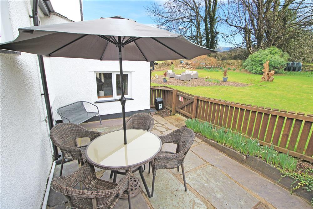 Private enclosed patio space at the back of Zig Zag Cottage