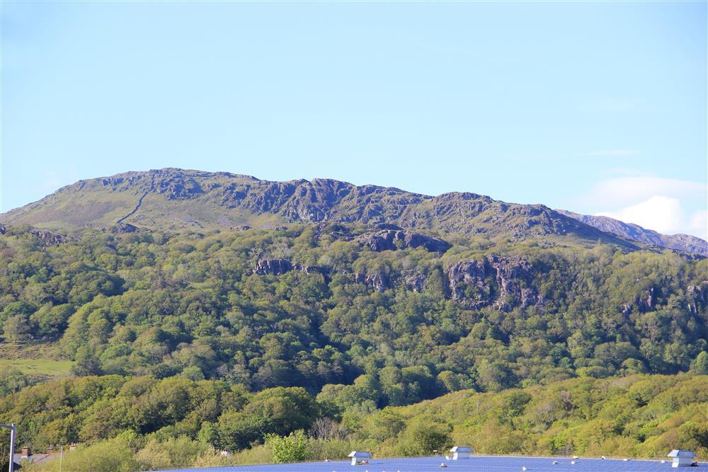 Close up photo of Moel Ddu mountain that can be seen from the back garden, living room and bedroom 2.