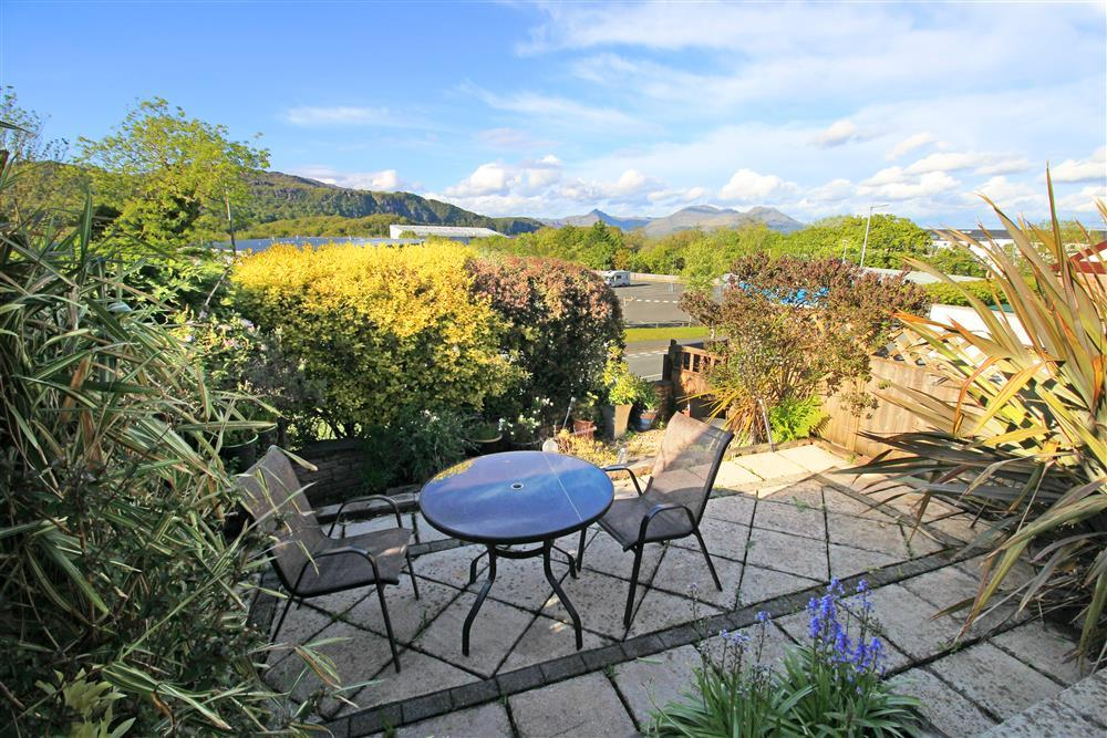 Back Garden with views of Cnicht, Moelwyn Mawr and Moelwy Bach Mountains in the distance.