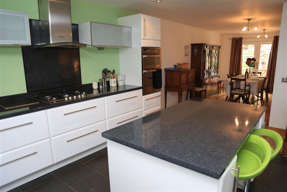 Large kitchen looking on to dining area