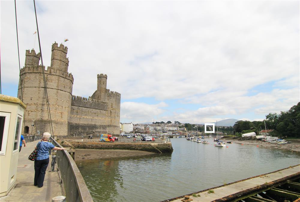 Caernarfon Castle and ysgol Jos bach in the distance