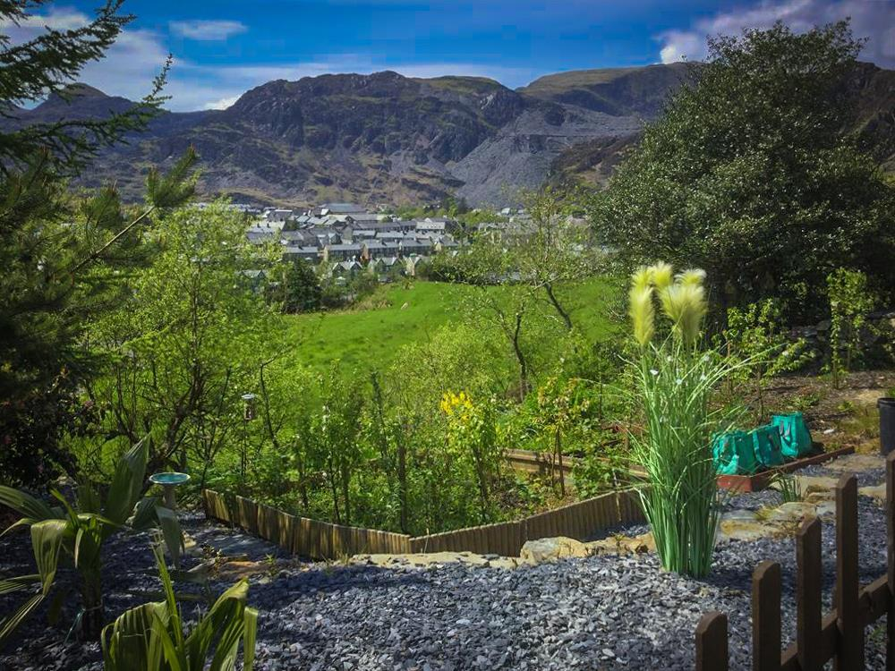 The front garden with views over Ffestiniog valley from the front door.