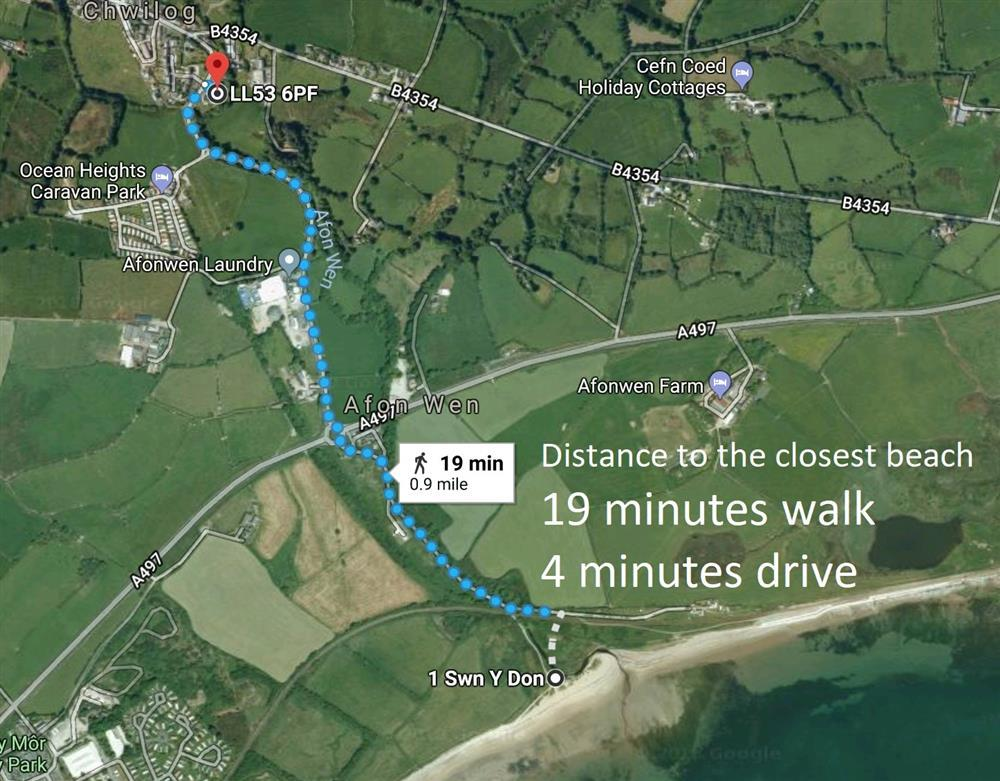 This shows the closest beach, 19 mins walk from this cottage. 4 mins drive from cottage down single lane road which you park on the side of the road before the railway bridge. Then walk under this bridge to get to this sandy beach.