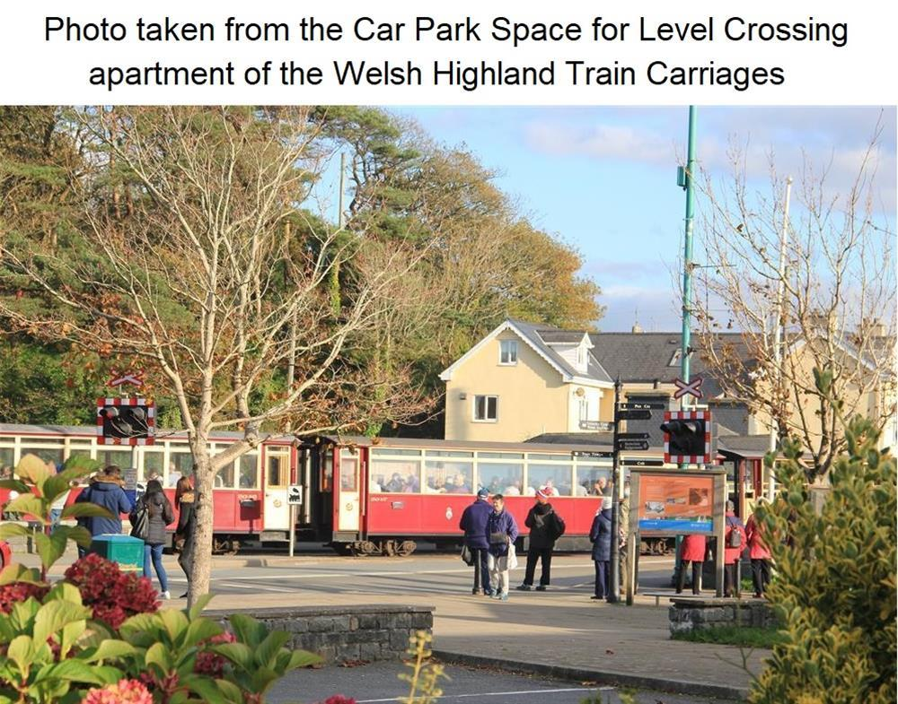 Photo taken from the Car Park Space for Level Crossing of Welsh Highland Train Carriages