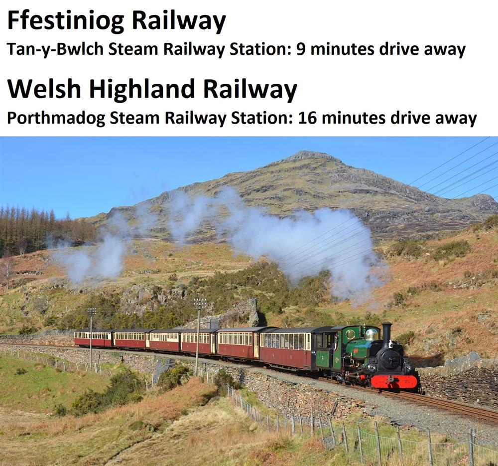 Ffestiniog Railway: From Blaenau Ffestiniog to Porthmadog. The closest train station is Tan-y-Bwlch, 3.7 miles away.