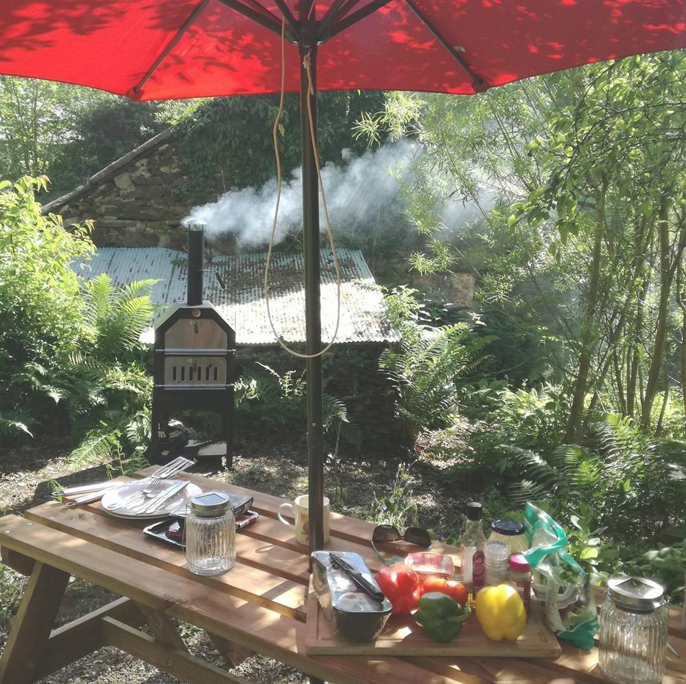 Garden - Large terraced garden to the front of the cottage with pizza BBQ smoker!