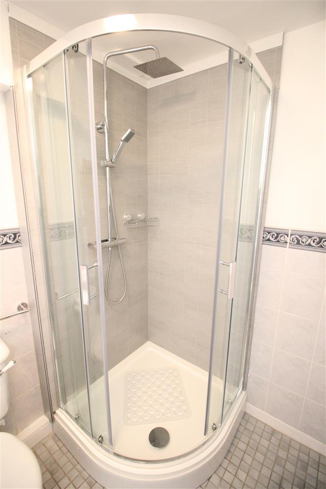 The shower in the en suite for bedroom 1 (Ground Floor)