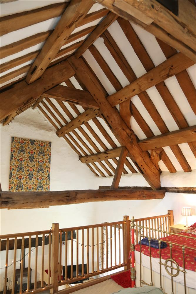 The exposed beams give an impressive welcome